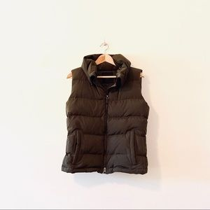 Talbots brown puffer puff vest down zip up small